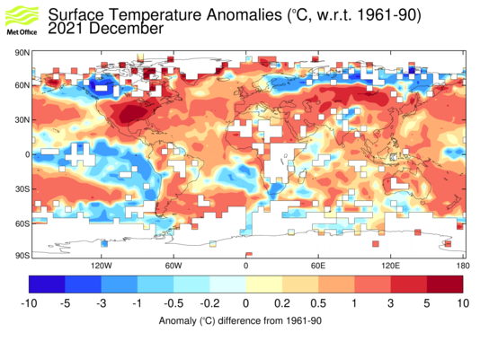 Global air temperature anomaly map.